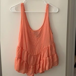 Forever 21 Coral Flowy Ruffled Tank